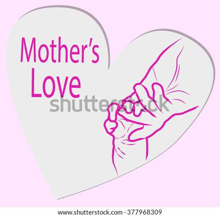 Heart icon with caring hands, vector logo - stock vector