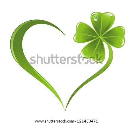 Heart icon with clover leaf icon - stock vector