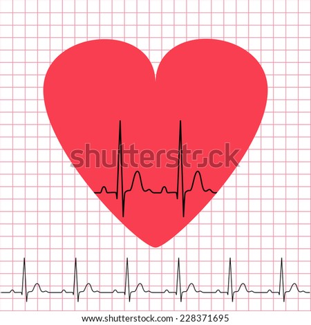 Heart icon with electrocardiogram on grid background, 2d illustration, vector, eps 8 - stock vector