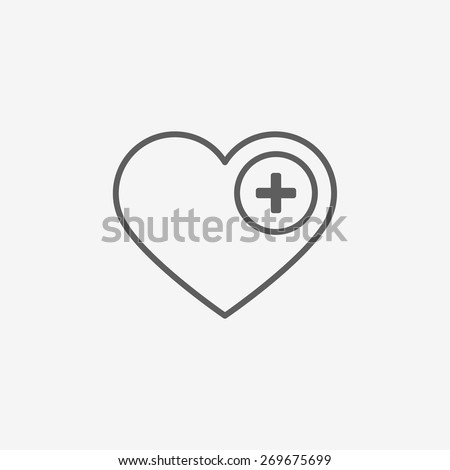 Heart icon with plus - stock vector