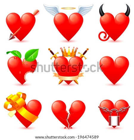 Heart icons. - stock vector