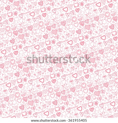 Heart icons pattern background.Valentine,wedding,love symbols backdrop.Retro heart love vector decoration.Hand drawing doodle vector,cartoon set.For wrapping paper,wallpaper,fabric.Pink outline - stock vector