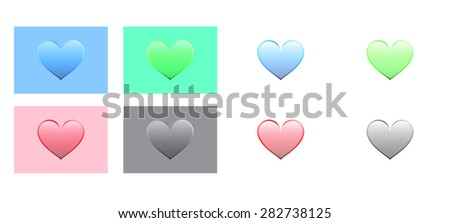 Heart Icons. red, blue, green and black color. Romantic and lovely icons for every day
