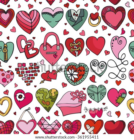Heart icons seamless pattern.Valentine,wedding,love symbols background.Retro heart love vector decoration.Hand drawing doodle vector,cartoon set.For wrapping paper,wallpaper,fabric.