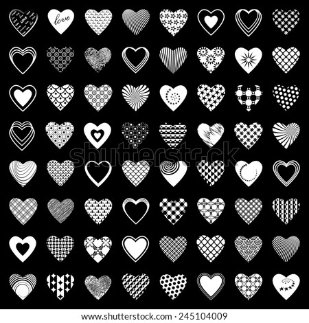 Heart icons set. 64 design elements. Vector art. - stock vector
