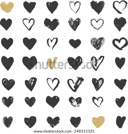 Heart Icons Set, hand drawn icons and illustrations for valentines and wedding - stock vector