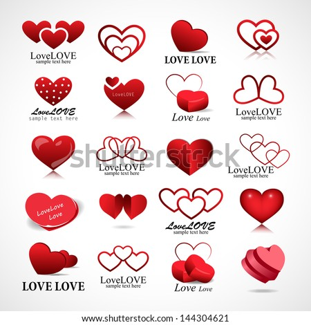 Heart Icons Set - Isolated On Gray Background - Vector Illustration, Graphic Design Editable For Your Design. Heart Logo - stock vector