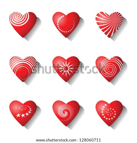 Heart icons. Valentine design elements set. Vector art. - stock vector