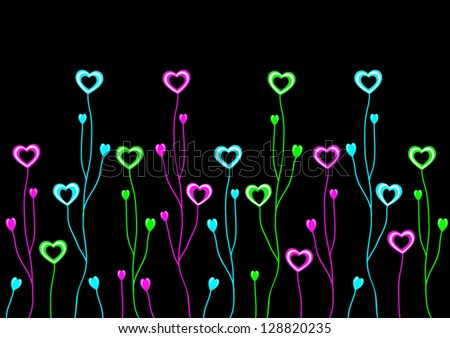 Heart illustration with branches on a black background - stock vector