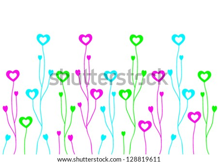 Heart illustration with branches on a white background. - stock vector