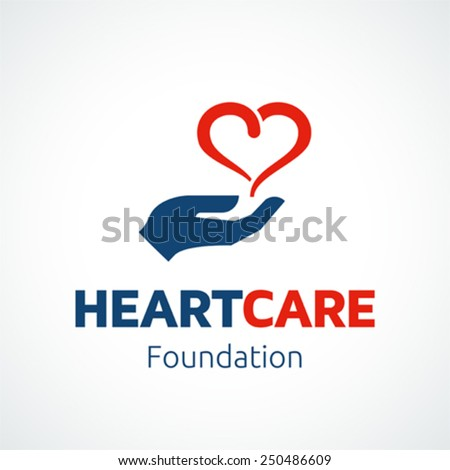 Heart in hand logo template for charity or medical health concepts. - stock vector