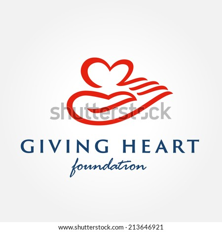 Heart in hand symbol, sign, icon, logo template for charity, health, voluntary, non profit organization, isolated on white background, vector illustration - stock vector
