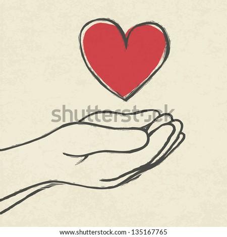 Heart in hands. - stock vector