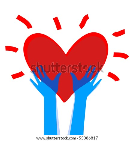 heart in hands 2 - stock vector
