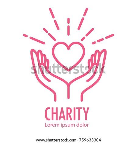 Heart Hands Symbol Line Icon Logo Stock Vector Hd Royalty Free