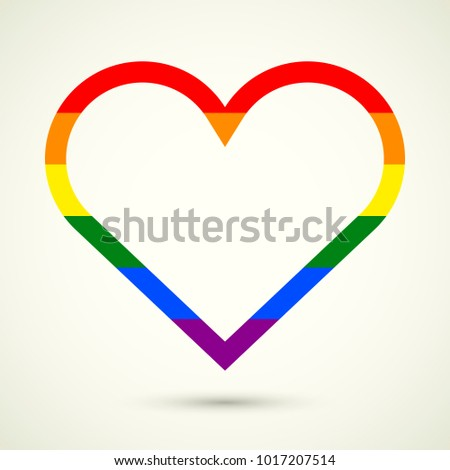Heart Rainbow Colors Space Text Symbol Stock Vector 1017207514