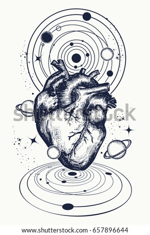 heart space tattoo anatomic heart among stock vector