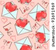Heart in the envelope (tileable background) - stock vector