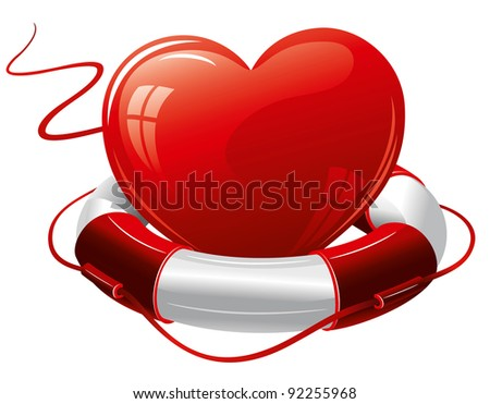 Heart in the lifebuoy. Concept image. - stock vector