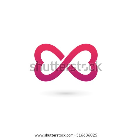 Heart infinity loop butterfly logo icon design template elements