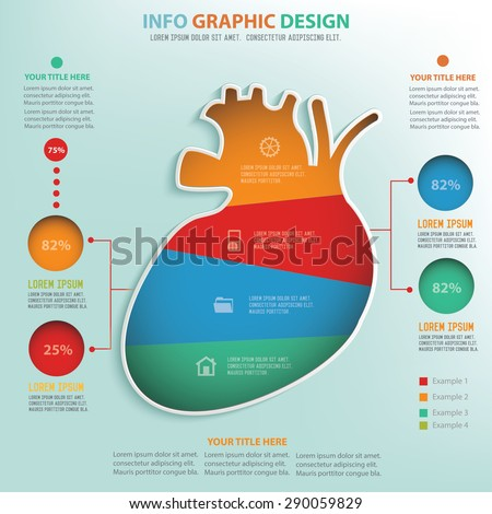 Heart info graphic design, Data concept design. Clean vector. - stock vector