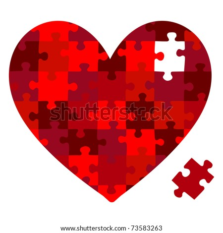 Heart jigsaw puzzle in vector format. - stock vector
