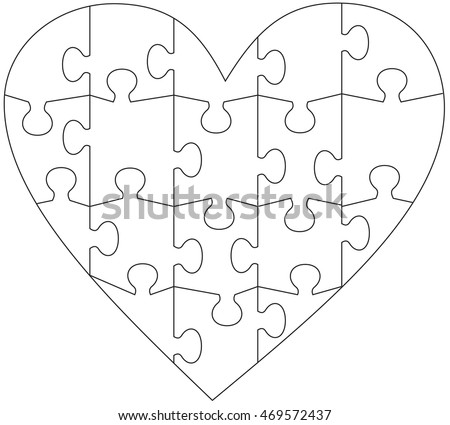 heart jigsaw puzzle template stock vector 469572437 shutterstock rh shutterstock com heart jigsaw puzzle template heart shaped puzzle template