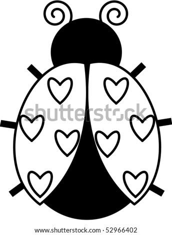 Heart Ladybug - stock vector