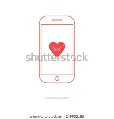 heart letter icon in red outline smartphone. concept of valentine day, billet-doux, electronic mail and romantic penpals. isolated on white background. trendy modern logo design vector illustration - stock vector