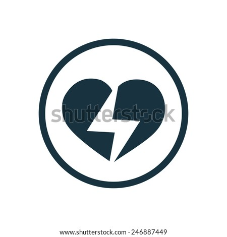 heart lightning icon on white background