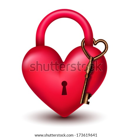 heart lock with key - stock vector