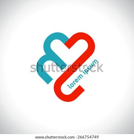 heart logo - stock vector