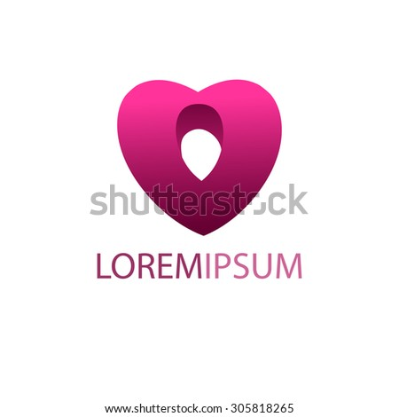 Heart  logo design template. Pink heart with hole inside - stock vector