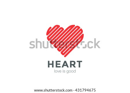 Heart Logo Linear design vector template. Happy Valentines Day concept. Infinity Love Labyrinth Logotype icon. - stock vector