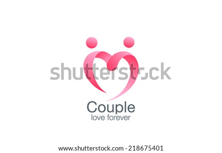 Heart Logo of couple in love vector design template. Lovers holding hands creative logotype. Marriage st. Valentine's day icon. - stock vector