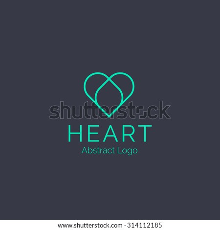 Heart logo template. Healthcare Corporate branding identity - stock vector