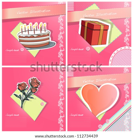 Heart love, cake, flower, and gift box on colorful fabric pieces. Vector illustration.