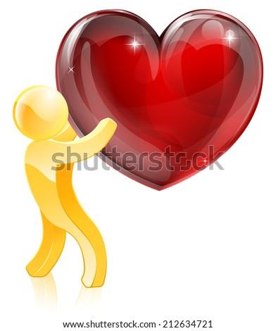 Heart love gold man concept of a mascot man holding a giant heart - stock vector