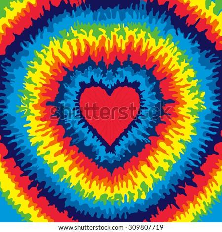 Heart, Love, Rainbow Tie Dye Background - stock vector