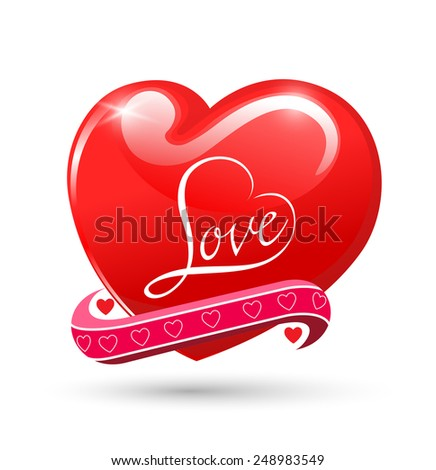 Heart Love red glossy symbol. Beautiful glossy Valentines Day romantic card design element. Isolated on white. Vector illustration. background