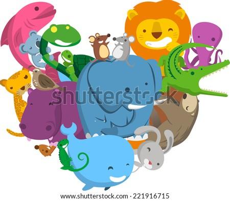 Heart Love Shape made of Wild Jungle Animals, with fish, turtle, tortoise, bear, bird, hippo, elephant, crocodile, bear, whale, rabbit, octopus, mouse, vector illustration.  - stock vector
