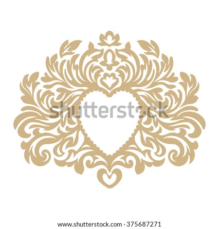 Heart luxury logo template in retro style. Line art victorian frame with vintage floral elegant calligraphic ornamental elements. Valentines day, love, wedding symbol. Vector background - stock vector