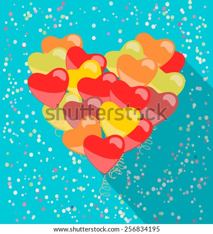 heart made of balloons in retro style - stock vector