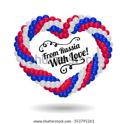 Heart made of balloons in the colors of Russian flag. - stock vector