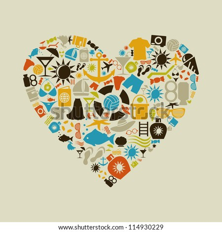 Heart made of beach subjects. A vector illustration - stock vector