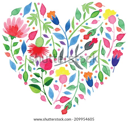 Heart made of beautiful watercolor flowers vector for romantic design - stock vector