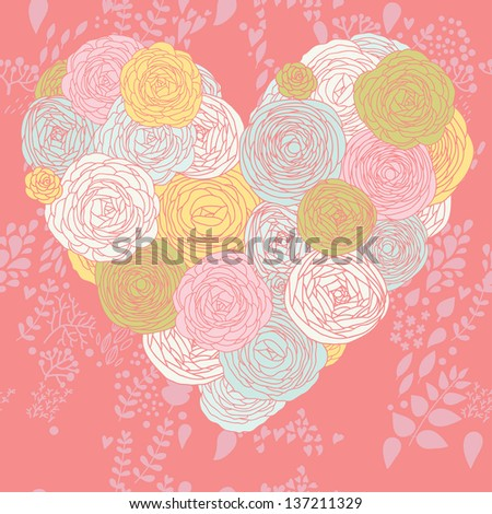 Heart made of flowers. Stylish vector composition for romantic designs. Ideal for wedding invitation - stock vector