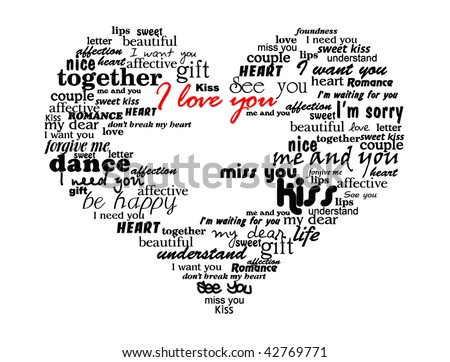 heart made of love words valentine vector illustration - stock vector