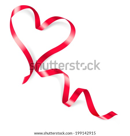 Heart made of red ribbon on white background. - stock vector