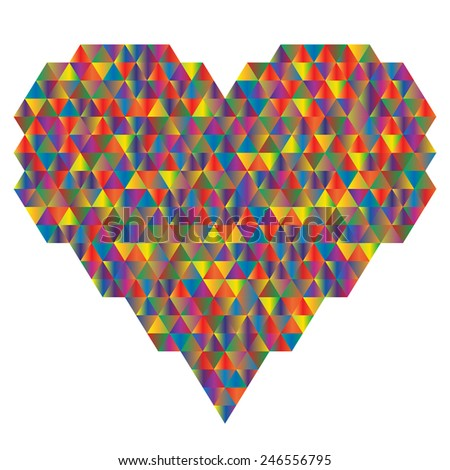 Heart Made Of The Triangle. Vector Illustration